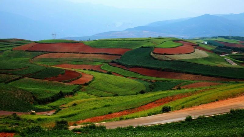 Les Rizière en Terrasse de Shuipingzi à la Terre Rouge de Dongchuan, Kunming